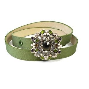 Talbots L Green Ribbon Belt Floral Jeweled Buckle